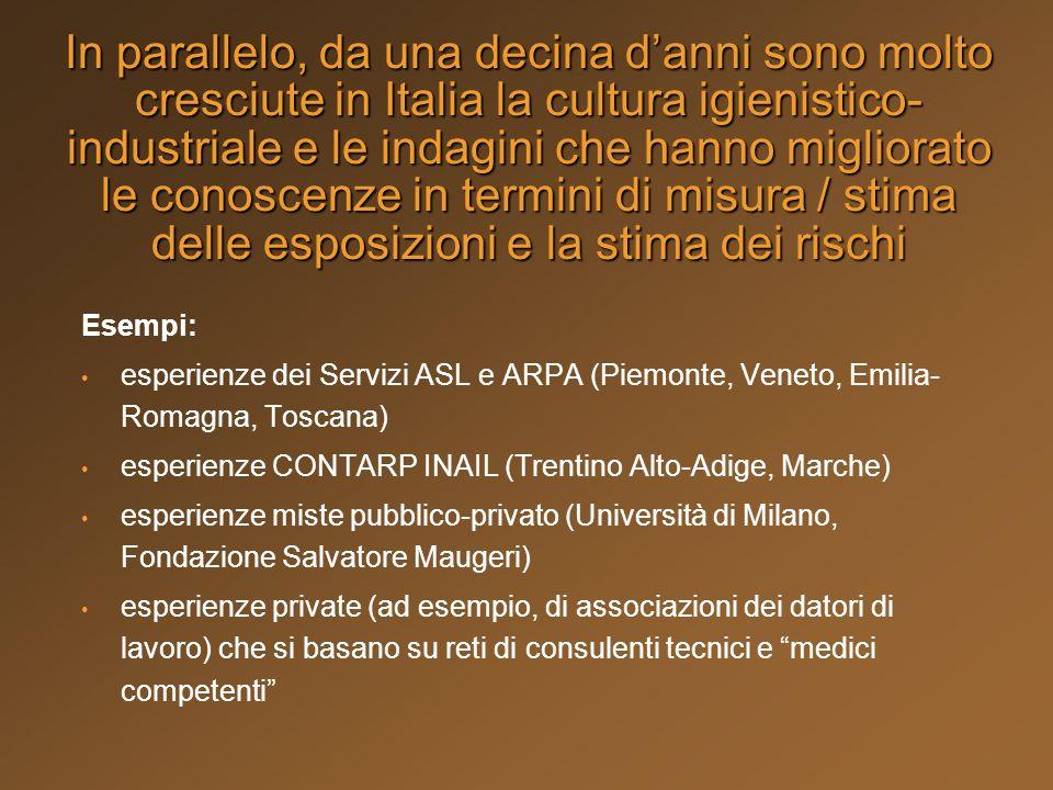 In parallelo, da una decina danni sono molto cresciute in Italia la cultura igienistico- industriale e le indagini che hanno migliorato le conoscenze