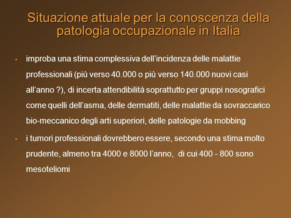 Situazione attuale per la conoscenza della patologia occupazionale in Italia improba una stima complessiva dellincidenza delle malattie professionali
