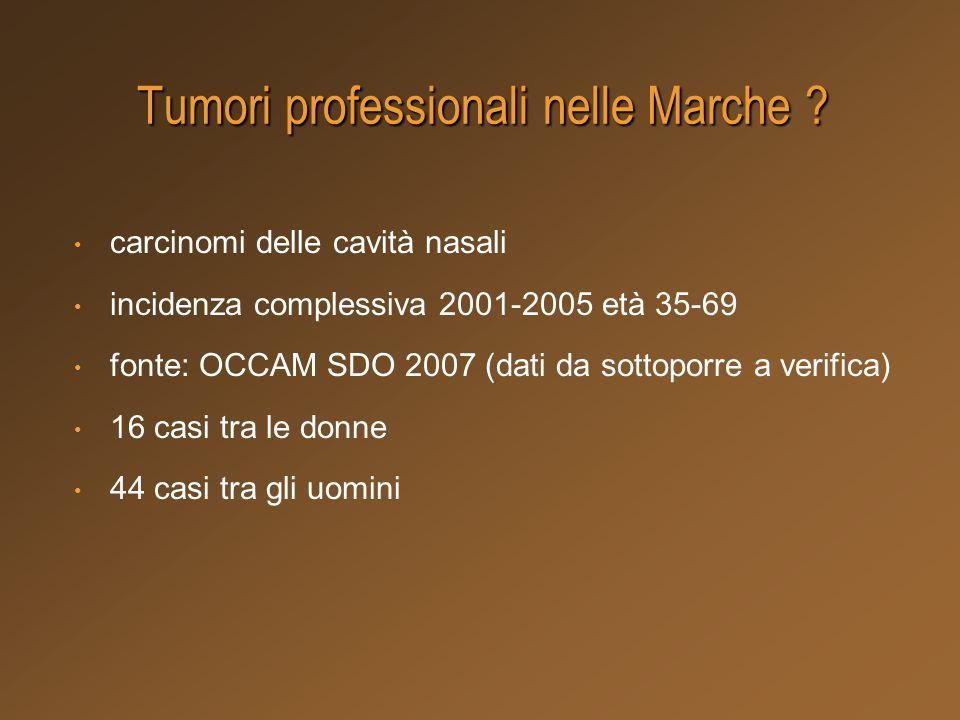 Tumori professionali nelle Marche ? carcinomi delle cavità nasali incidenza complessiva 2001-2005 età 35-69 fonte: OCCAM SDO 2007 (dati da sottoporre