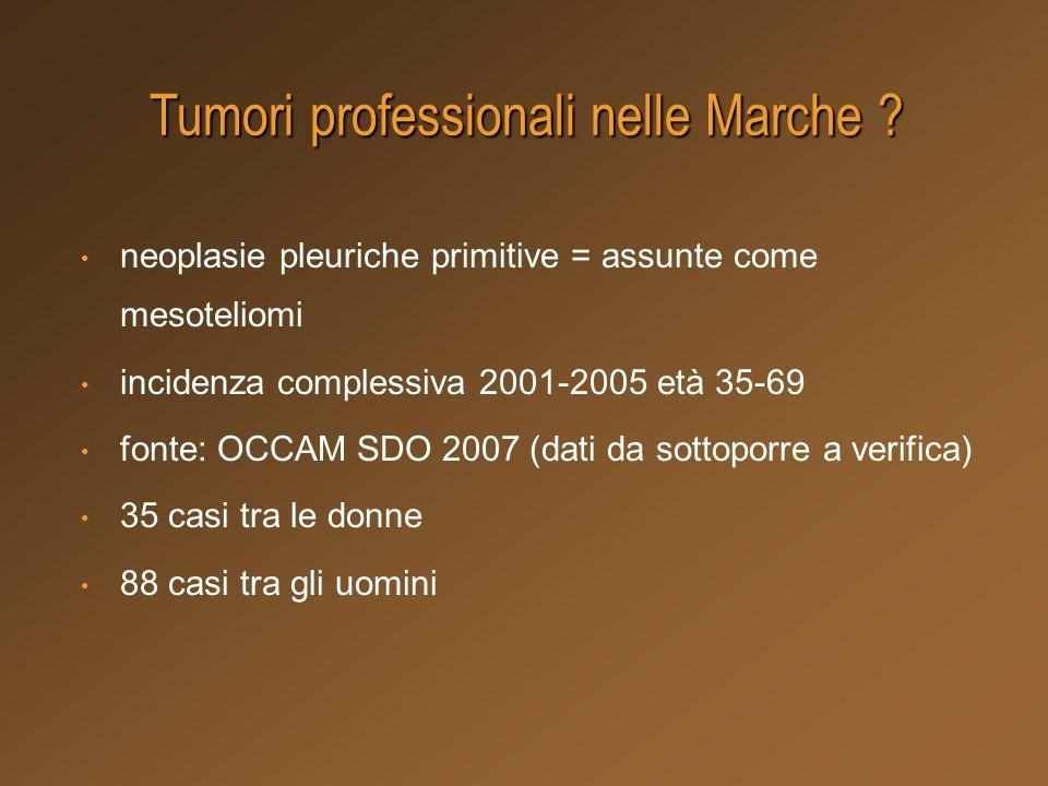 neoplasie pleuriche primitive = assunte come mesoteliomi incidenza complessiva 2001-2005 età 35-69 fonte: OCCAM SDO 2007 (dati da sottoporre a verific