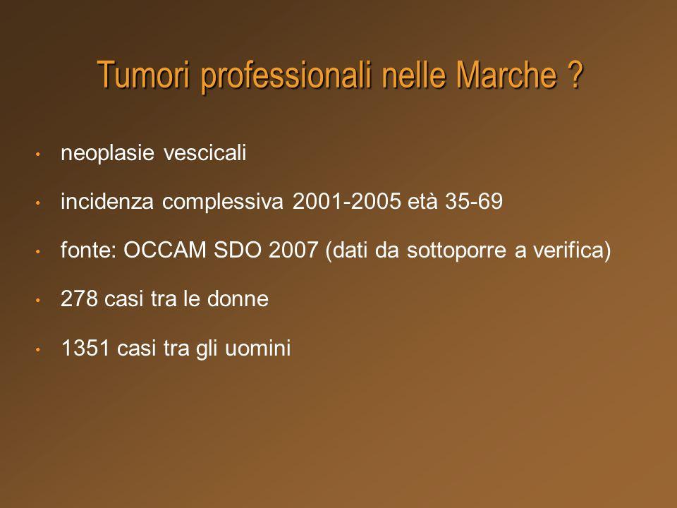 neoplasie vescicali incidenza complessiva 2001-2005 età 35-69 fonte: OCCAM SDO 2007 (dati da sottoporre a verifica) 278 casi tra le donne 1351 casi tr