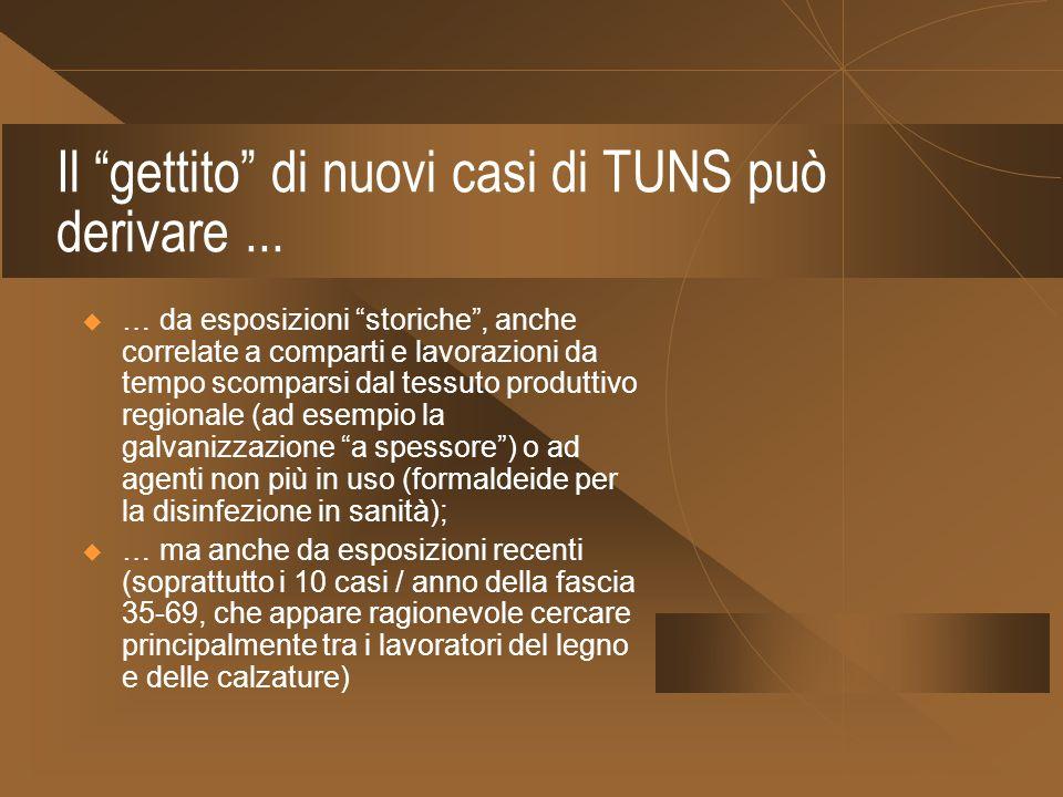 Il gettito di nuovi casi di TUNS può derivare... … da esposizioni storiche, anche correlate a comparti e lavorazioni da tempo scomparsi dal tessuto pr