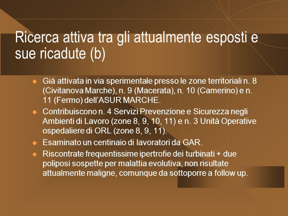 Ricerca attiva tra gli attualmente esposti e sue ricadute (b) Già attivata in via sperimentale presso le zone territoriali n. 8 (Civitanova Marche), n