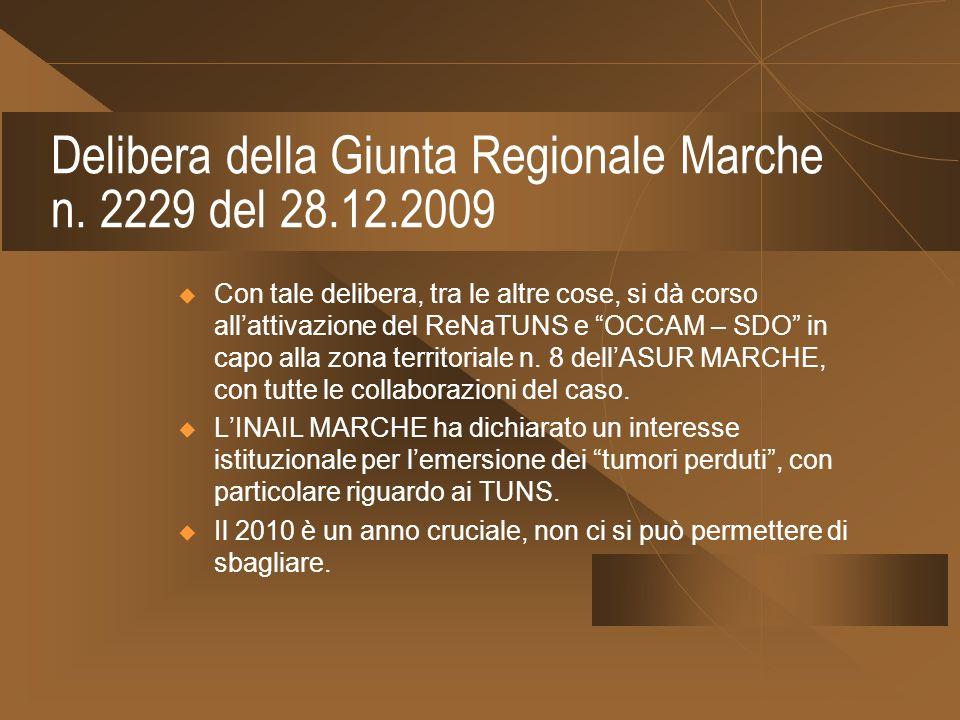 Delibera della Giunta Regionale Marche n. 2229 del 28.12.2009 Con tale delibera, tra le altre cose, si dà corso allattivazione del ReNaTUNS e OCCAM –