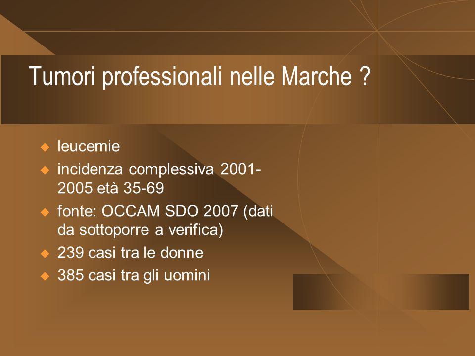 Tumori professionali nelle Marche ? leucemie incidenza complessiva 2001- 2005 età 35-69 fonte: OCCAM SDO 2007 (dati da sottoporre a verifica) 239 casi