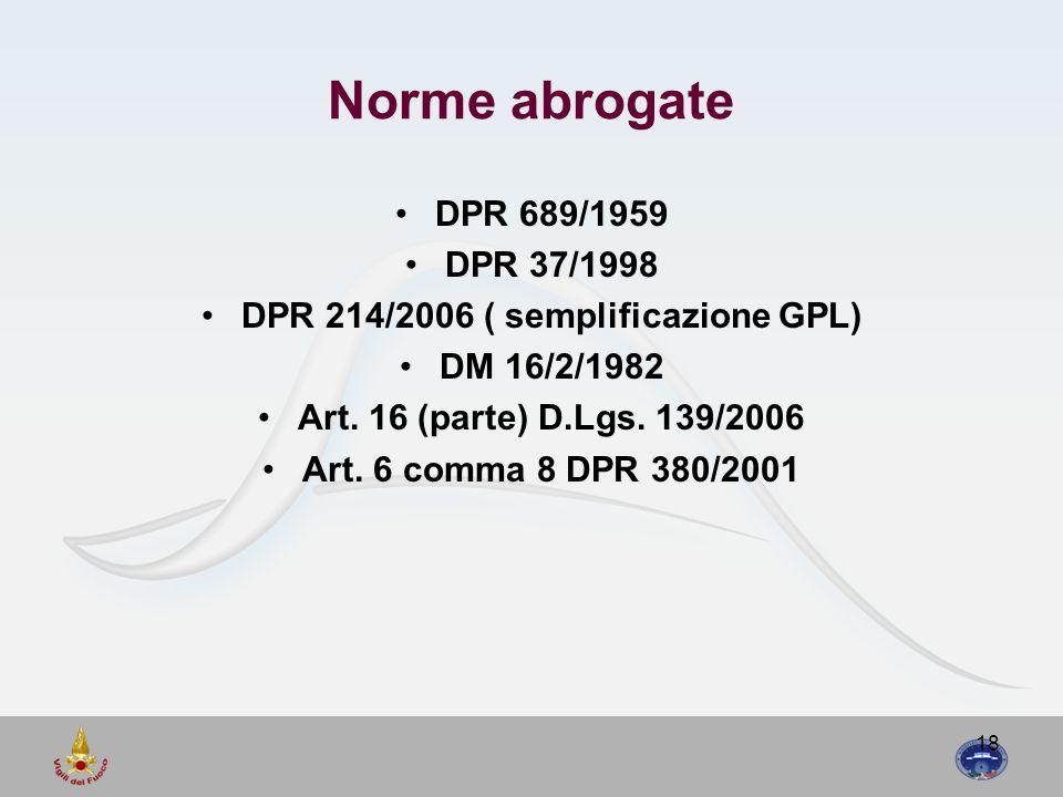 18 Norme abrogate DPR 689/1959 DPR 37/1998 DPR 214/2006 ( semplificazione GPL) DM 16/2/1982 Art. 16 (parte) D.Lgs. 139/2006 Art. 6 comma 8 DPR 380/200