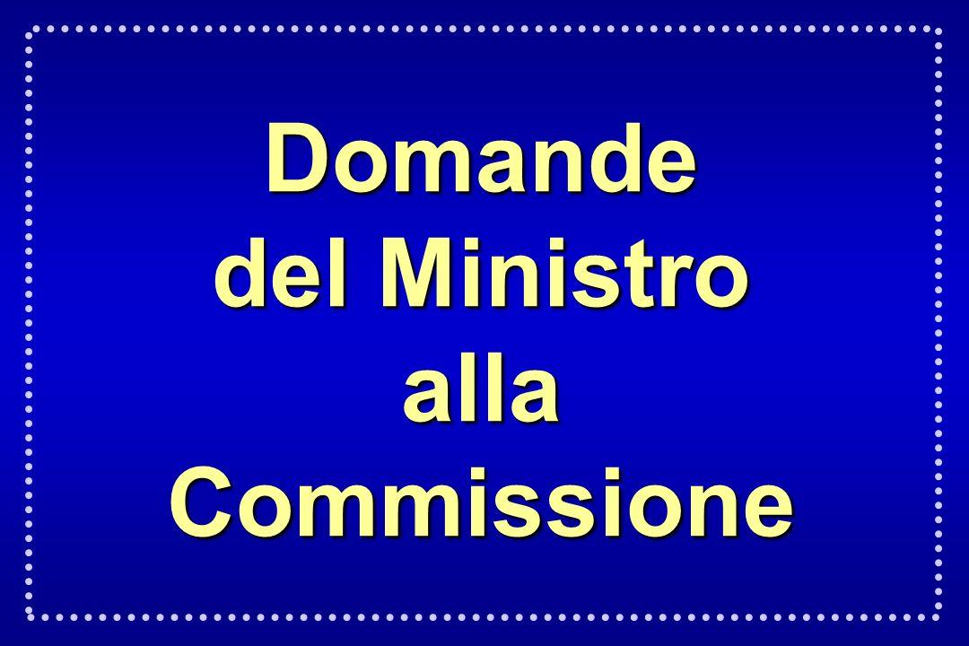 Domande del Ministro allaCommissione