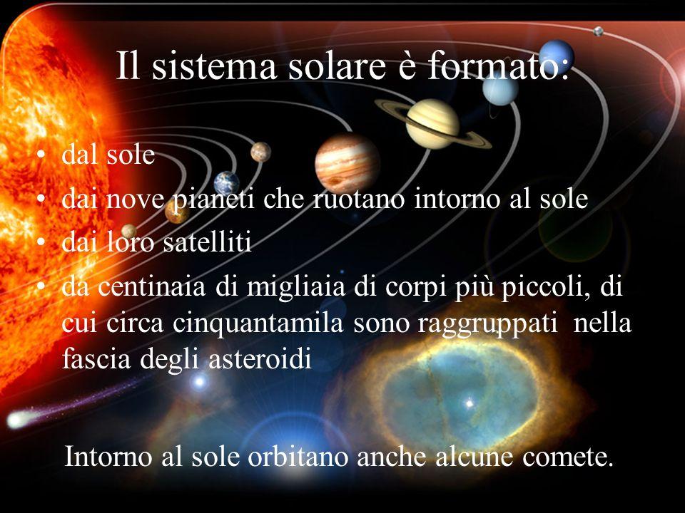Il sistema solare è formato: dal sole dai nove pianeti che ruotano intorno al sole dai loro satelliti da centinaia di migliaia di corpi più piccoli, d
