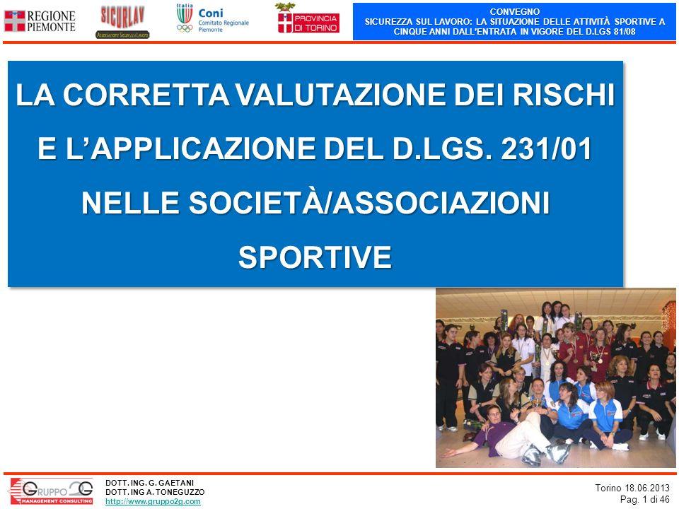 CONVEGNO SICUREZZA SUL LAVORO: LA SITUAZIONE DELLE ATTIVITÀ SPORTIVE A CINQUE ANNI DALLENTRATA IN VIGORE DEL D.LGS 81/08 Torino 18.06.2013 Pag. 1 di 4