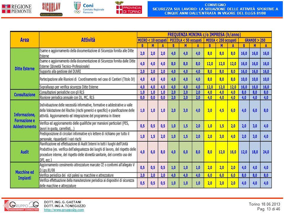 CONVEGNO SICUREZZA SUL LAVORO: LA SITUAZIONE DELLE ATTIVITÀ SPORTIVE A CINQUE ANNI DALLENTRATA IN VIGORE DEL D.LGS 81/08 Torino 18.06.2013 Pag. 13 di