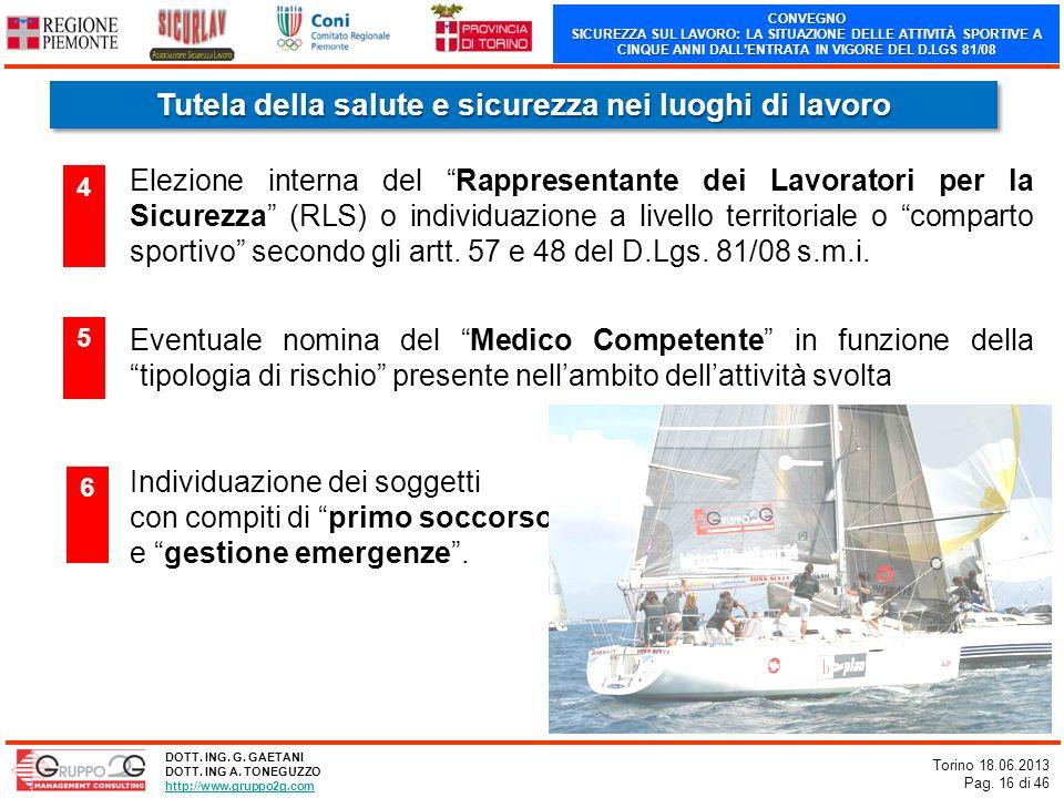 CONVEGNO SICUREZZA SUL LAVORO: LA SITUAZIONE DELLE ATTIVITÀ SPORTIVE A CINQUE ANNI DALLENTRATA IN VIGORE DEL D.LGS 81/08 Torino 18.06.2013 Pag. 16 di