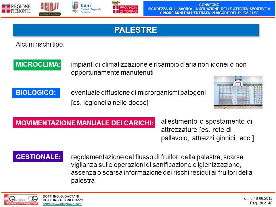 CONVEGNO SICUREZZA SUL LAVORO: LA SITUAZIONE DELLE ATTIVITÀ SPORTIVE A CINQUE ANNI DALLENTRATA IN VIGORE DEL D.LGS 81/08 Torino 18.06.2013 Pag. 20 di