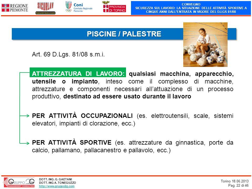CONVEGNO SICUREZZA SUL LAVORO: LA SITUAZIONE DELLE ATTIVITÀ SPORTIVE A CINQUE ANNI DALLENTRATA IN VIGORE DEL D.LGS 81/08 Torino 18.06.2013 Pag. 22 di