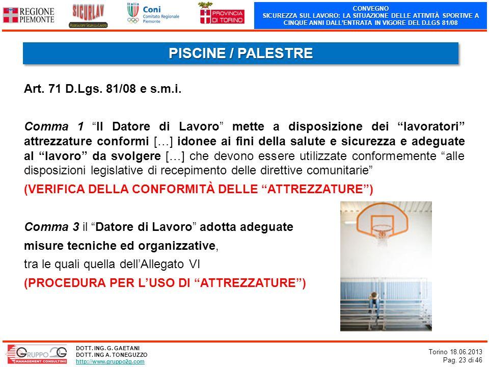 CONVEGNO SICUREZZA SUL LAVORO: LA SITUAZIONE DELLE ATTIVITÀ SPORTIVE A CINQUE ANNI DALLENTRATA IN VIGORE DEL D.LGS 81/08 Torino 18.06.2013 Pag. 23 di