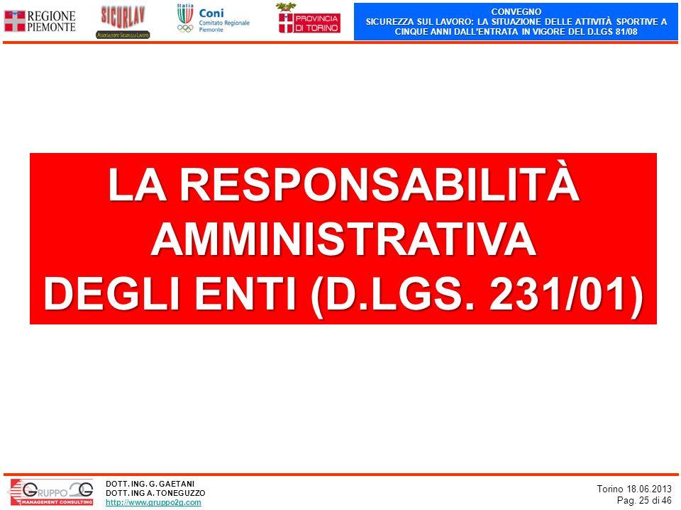 CONVEGNO SICUREZZA SUL LAVORO: LA SITUAZIONE DELLE ATTIVITÀ SPORTIVE A CINQUE ANNI DALLENTRATA IN VIGORE DEL D.LGS 81/08 Torino 18.06.2013 Pag. 25 di