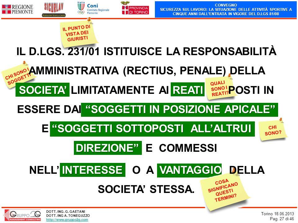 CONVEGNO SICUREZZA SUL LAVORO: LA SITUAZIONE DELLE ATTIVITÀ SPORTIVE A CINQUE ANNI DALLENTRATA IN VIGORE DEL D.LGS 81/08 Torino 18.06.2013 Pag. 27 di