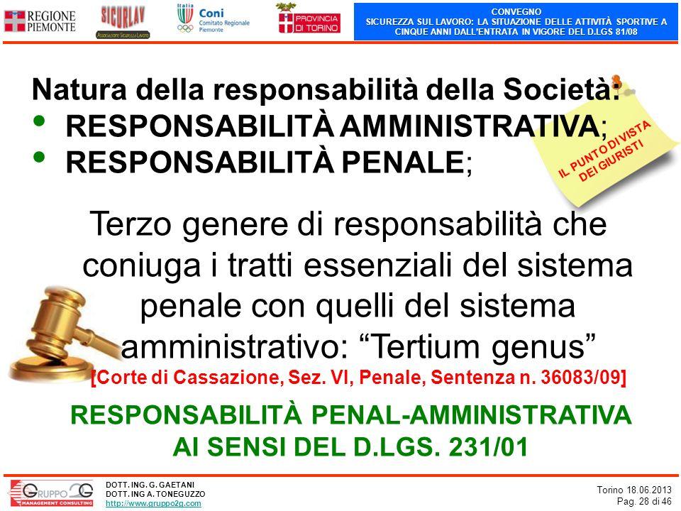 CONVEGNO SICUREZZA SUL LAVORO: LA SITUAZIONE DELLE ATTIVITÀ SPORTIVE A CINQUE ANNI DALLENTRATA IN VIGORE DEL D.LGS 81/08 Torino 18.06.2013 Pag. 28 di