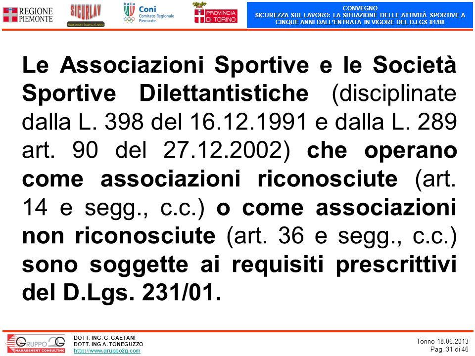 CONVEGNO SICUREZZA SUL LAVORO: LA SITUAZIONE DELLE ATTIVITÀ SPORTIVE A CINQUE ANNI DALLENTRATA IN VIGORE DEL D.LGS 81/08 Torino 18.06.2013 Pag. 31 di