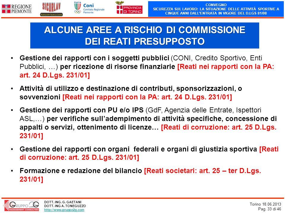 CONVEGNO SICUREZZA SUL LAVORO: LA SITUAZIONE DELLE ATTIVITÀ SPORTIVE A CINQUE ANNI DALLENTRATA IN VIGORE DEL D.LGS 81/08 Torino 18.06.2013 Pag. 33 di