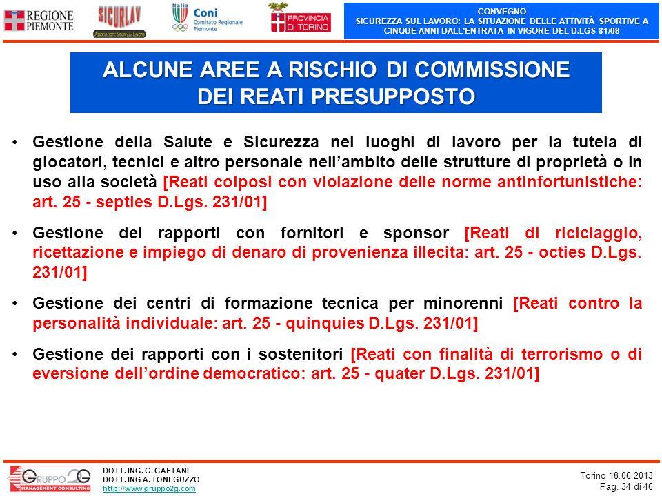 CONVEGNO SICUREZZA SUL LAVORO: LA SITUAZIONE DELLE ATTIVITÀ SPORTIVE A CINQUE ANNI DALLENTRATA IN VIGORE DEL D.LGS 81/08 Torino 18.06.2013 Pag. 34 di