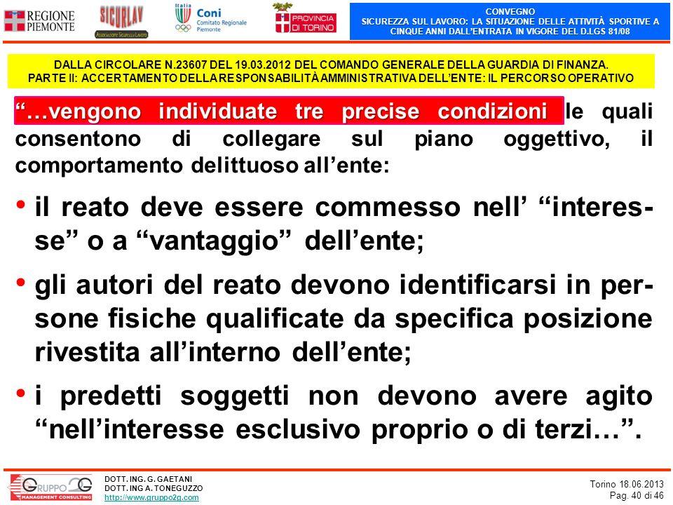 CONVEGNO SICUREZZA SUL LAVORO: LA SITUAZIONE DELLE ATTIVITÀ SPORTIVE A CINQUE ANNI DALLENTRATA IN VIGORE DEL D.LGS 81/08 Torino 18.06.2013 Pag. 40 di