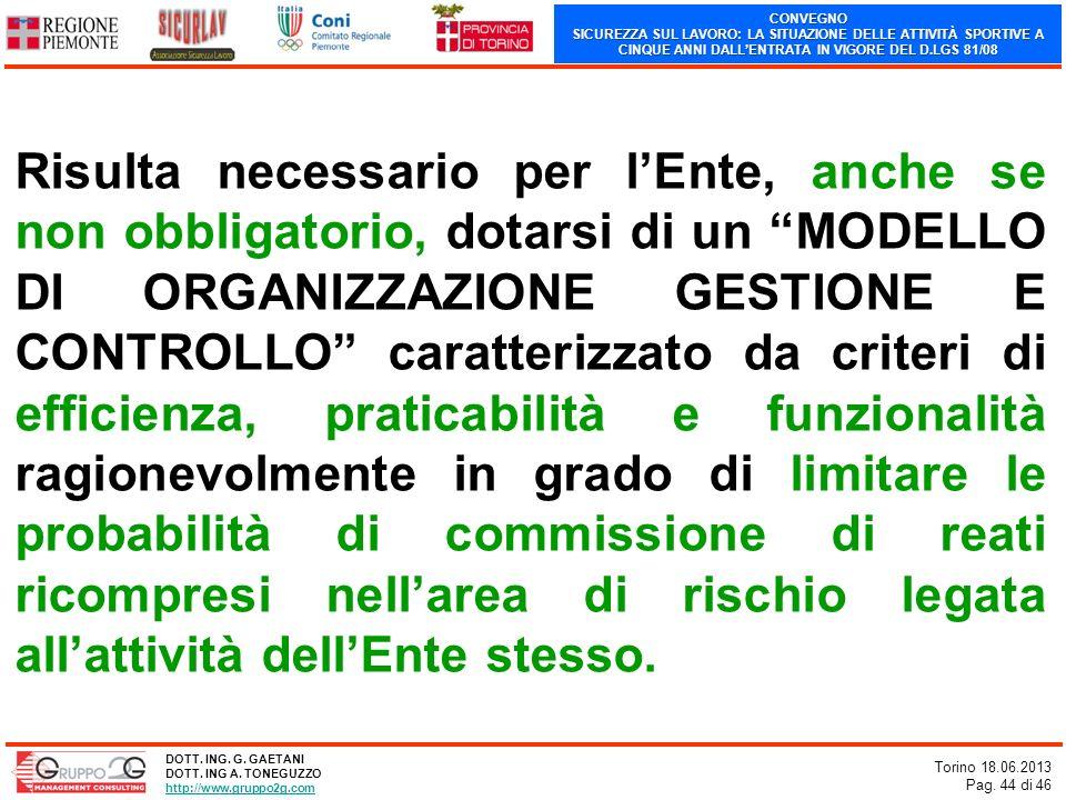 CONVEGNO SICUREZZA SUL LAVORO: LA SITUAZIONE DELLE ATTIVITÀ SPORTIVE A CINQUE ANNI DALLENTRATA IN VIGORE DEL D.LGS 81/08 Torino 18.06.2013 Pag. 44 di