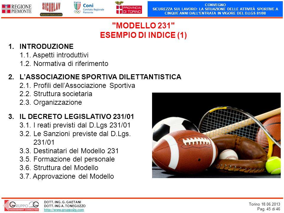 CONVEGNO SICUREZZA SUL LAVORO: LA SITUAZIONE DELLE ATTIVITÀ SPORTIVE A CINQUE ANNI DALLENTRATA IN VIGORE DEL D.LGS 81/08 Torino 18.06.2013 Pag. 45 di