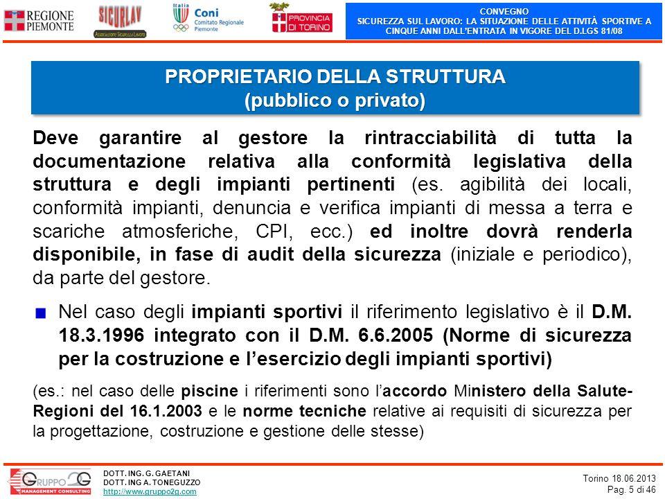 CONVEGNO SICUREZZA SUL LAVORO: LA SITUAZIONE DELLE ATTIVITÀ SPORTIVE A CINQUE ANNI DALLENTRATA IN VIGORE DEL D.LGS 81/08 Torino 18.06.2013 Pag. 5 di 4