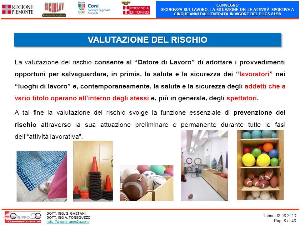 CONVEGNO SICUREZZA SUL LAVORO: LA SITUAZIONE DELLE ATTIVITÀ SPORTIVE A CINQUE ANNI DALLENTRATA IN VIGORE DEL D.LGS 81/08 Torino 18.06.2013 Pag. 8 di 4