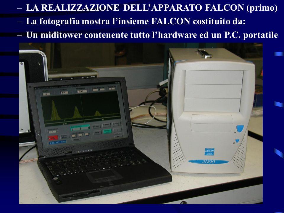 –LA REALIZZAZIONE DELLAPPARATO FALCON (primo) –La fotografia mostra linsieme FALCON costituito da: –Un miditower contenente tutto lhardware ed un P.C.