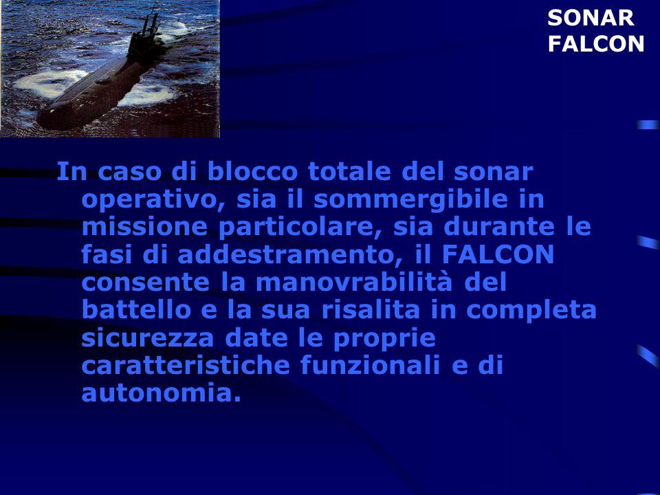 In caso di blocco totale del sonar operativo, sia il sommergibile in missione particolare, sia durante le fasi di addestramento, il FALCON consente la