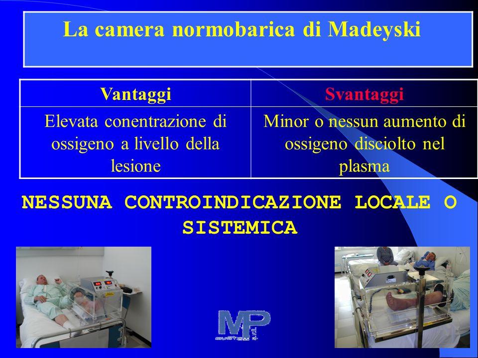 VantaggiSvantaggi Elevata conentrazione di ossigeno a livello della lesione Minor o nessun aumento di ossigeno disciolto nel plasma NESSUNA CONTROINDICAZIONE LOCALE O SISTEMICA La camera normobarica di Madeyski