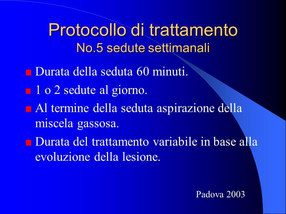 Protocollo di trattamento No.5 sedute settimanali Durata della seduta 60 minuti.