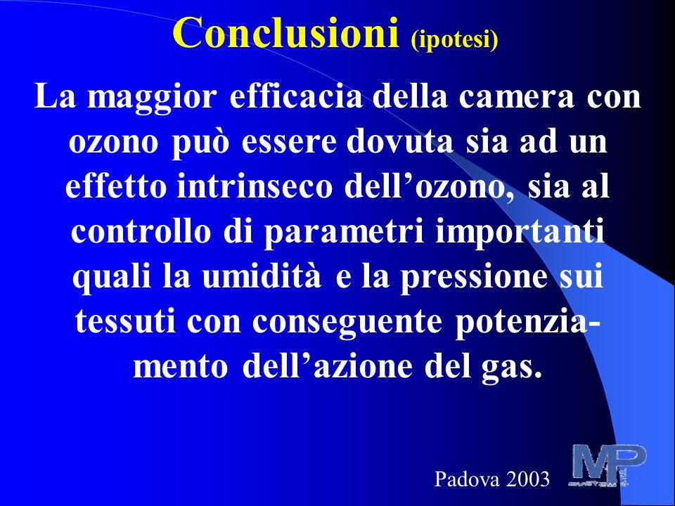 Conclusioni (ipotesi) La maggior efficacia della camera con ozono può essere dovuta sia ad un effetto intrinseco dellozono, sia al controllo di parametri importanti quali la umidità e la pressione sui tessuti con conseguente potenzia- mento dellazione del gas.