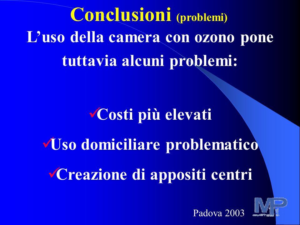 Conclusioni (problemi) Luso della camera con ozono pone tuttavia alcuni problemi: Costi più elevati Uso domiciliare problematico Creazione di appositi centri Padova 2003