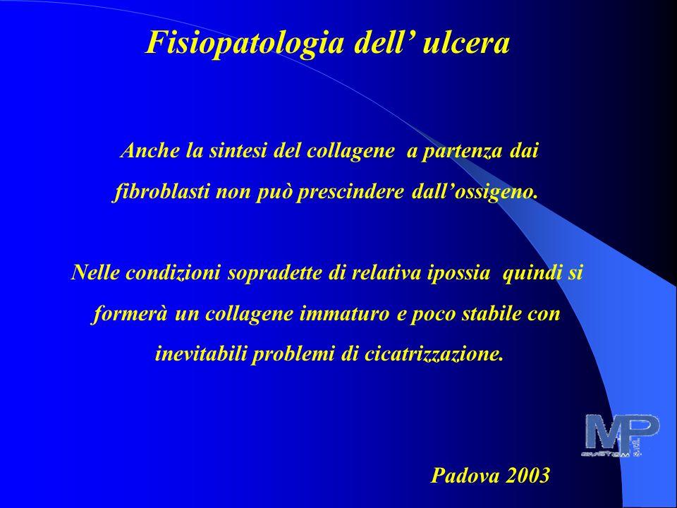 Fisiopatologia dell ulcera Anche la sintesi del collagene a partenza dai fibroblasti non può prescindere dallossigeno.
