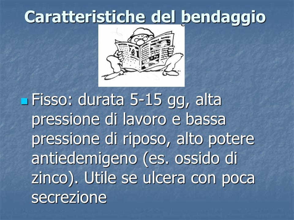 Caratteristiche del bendaggio Fisso: durata 5-15 gg, alta pressione di lavoro e bassa pressione di riposo, alto potere antiedemigeno (es. ossido di zi