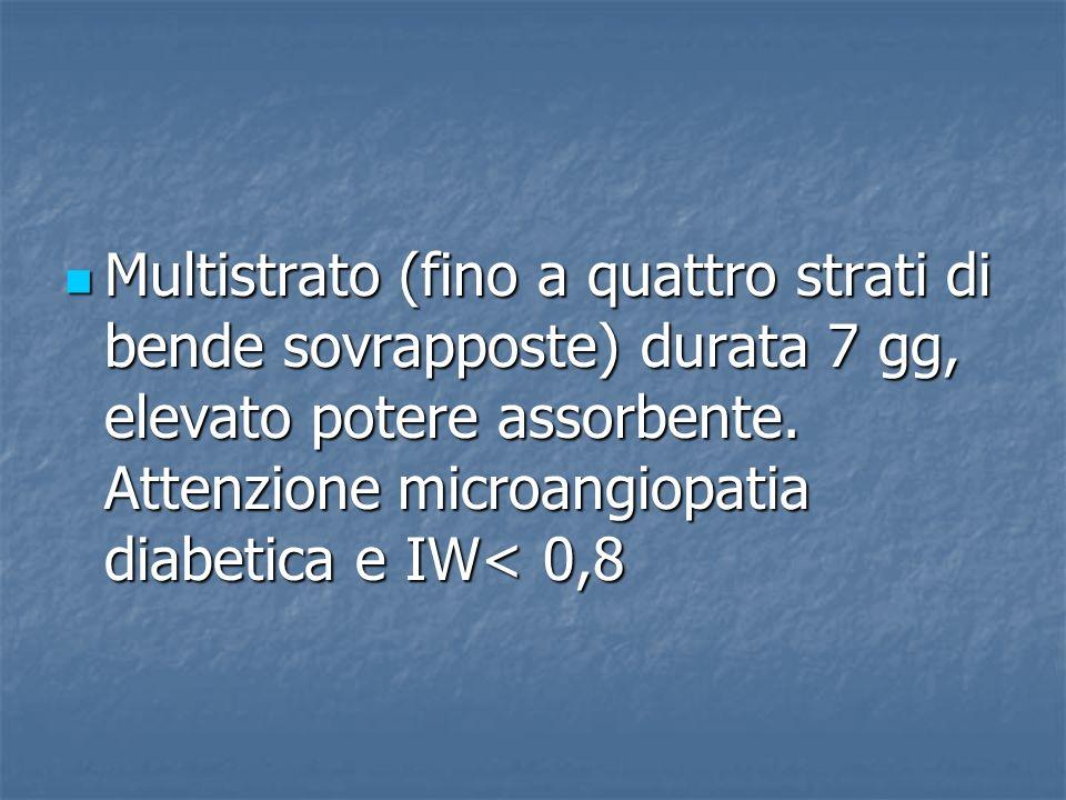 Multistrato (fino a quattro strati di bende sovrapposte) durata 7 gg, elevato potere assorbente. Attenzione microangiopatia diabetica e IW< 0,8 Multis