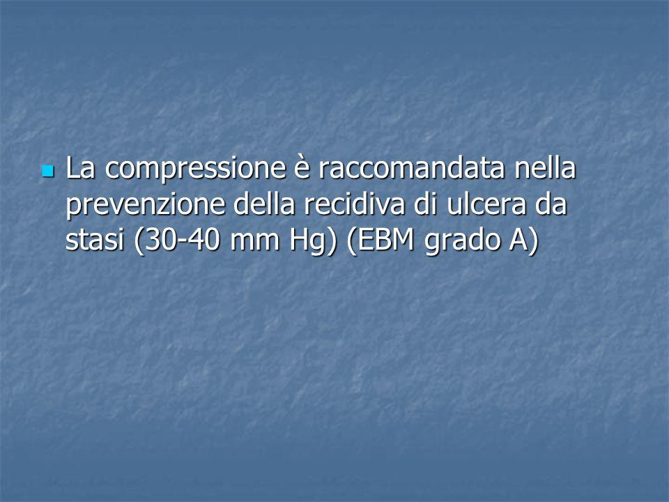 La compressione è raccomandata nella prevenzione della recidiva di ulcera da stasi (30-40 mm Hg) (EBM grado A) La compressione è raccomandata nella prevenzione della recidiva di ulcera da stasi (30-40 mm Hg) (EBM grado A)