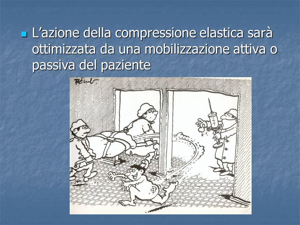 Lazione della compressione elastica sarà ottimizzata da una mobilizzazione attiva o passiva del paziente Lazione della compressione elastica sarà otti