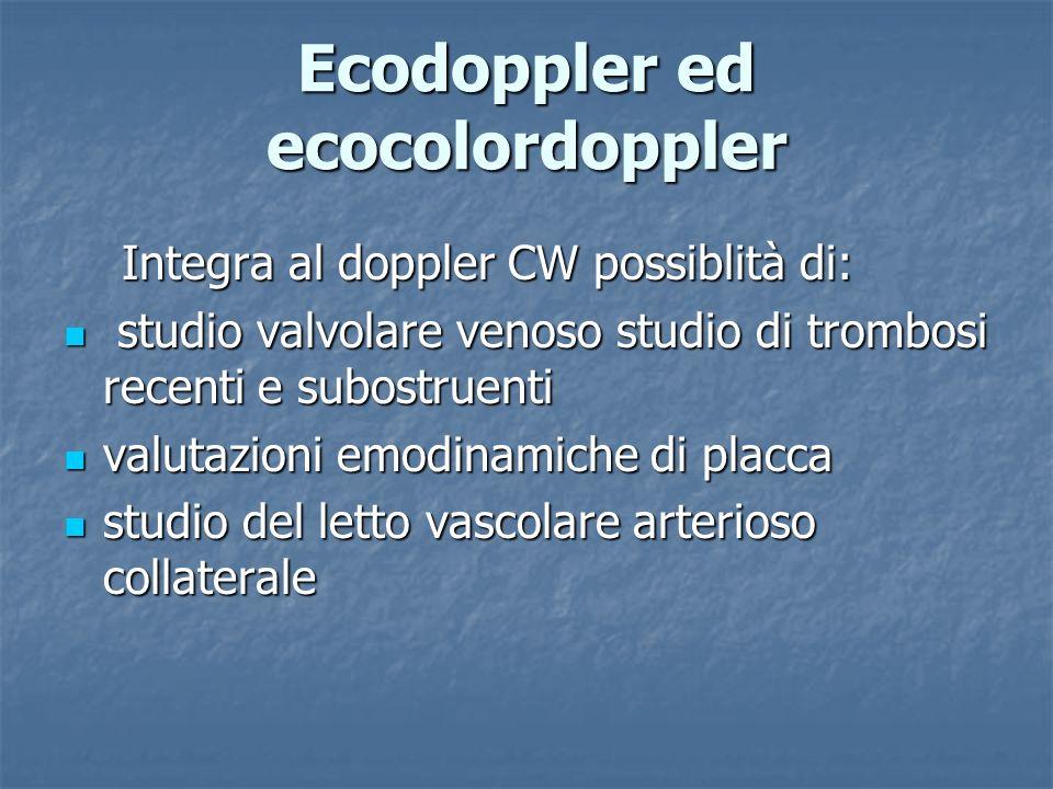 Integra al doppler CW possiblità di: Integra al doppler CW possiblità di: studio valvolare venoso studio di trombosi recenti e subostruenti studio val