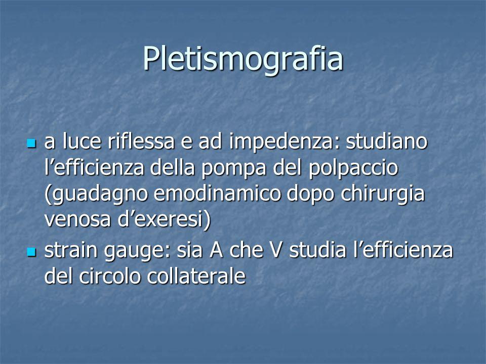 Pletismografia a luce riflessa e ad impedenza: studiano lefficienza della pompa del polpaccio (guadagno emodinamico dopo chirurgia venosa dexeresi) a