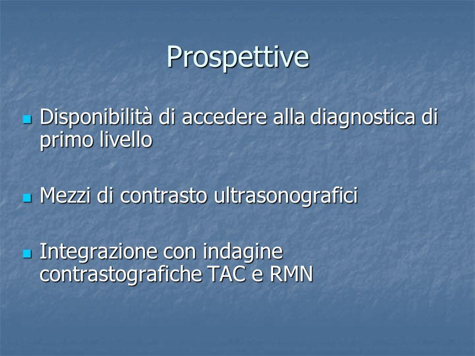 Prospettive Disponibilità di accedere alla diagnostica di primo livello Disponibilità di accedere alla diagnostica di primo livello Mezzi di contrasto