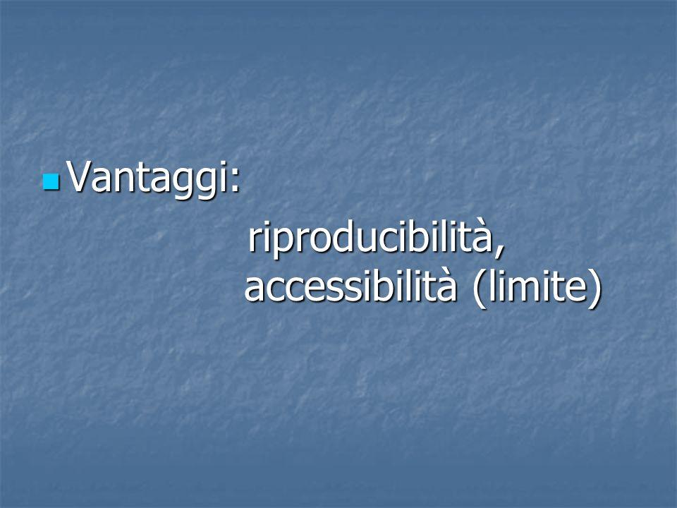 Vantaggi: Vantaggi: riproducibilità, accessibilità (limite) riproducibilità, accessibilità (limite)