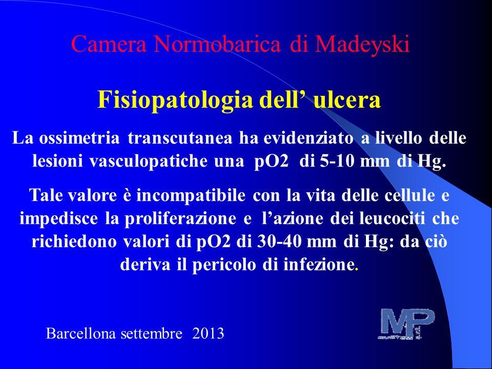 Fisiopatologia dell ulcera La ossimetria transcutanea ha evidenziato a livello delle lesioni vasculopatiche una pO2 di 5-10 mm di Hg. Tale valore è in