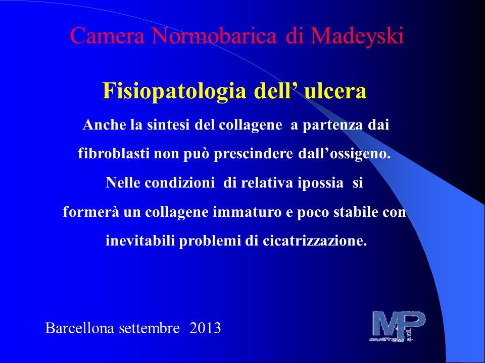 Fisiopatologia dell ulcera Anche la sintesi del collagene a partenza dai fibroblasti non può prescindere dallossigeno. Nelle condizioni di relativa ip