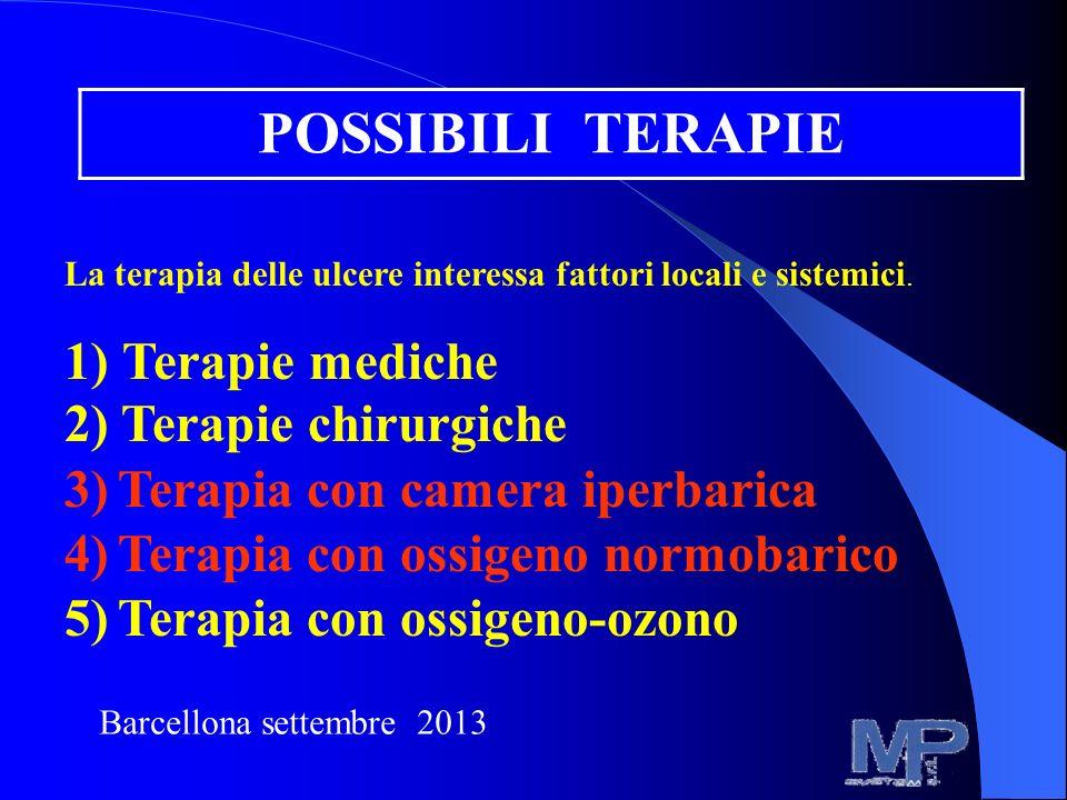 POSSIBILI TERAPIE La terapia delle ulcere interessa fattori locali e sistemici. 1) Terapie mediche 2) Terapie chirurgiche 3)Terapia con camera iperbar