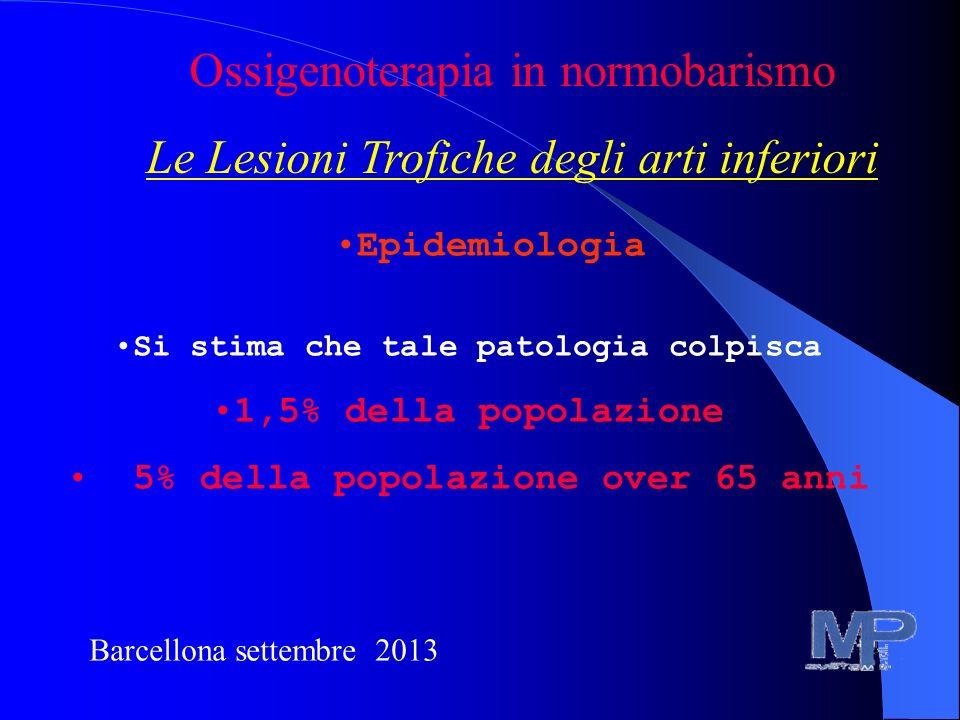 Barcellona settembre 2013 Ossigenoterapia in normobarismo Le Lesioni Trofiche degli arti inferiori Epidemiologia Si stima che tale patologia colpisca