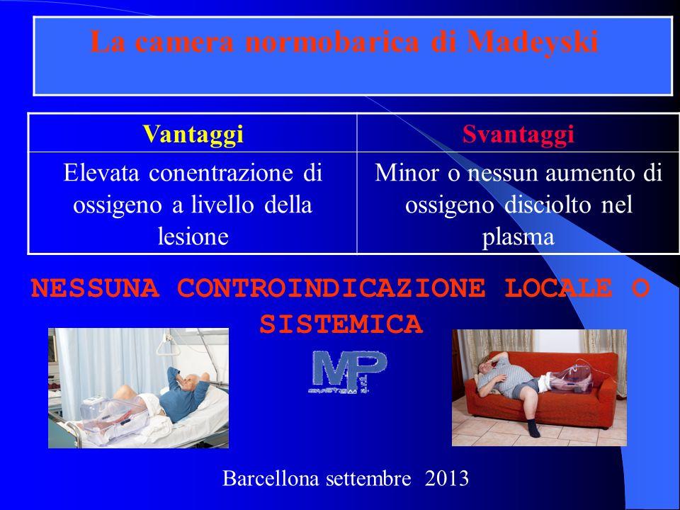 VantaggiSvantaggi Elevata conentrazione di ossigeno a livello della lesione Minor o nessun aumento di ossigeno disciolto nel plasma NESSUNA CONTROINDI