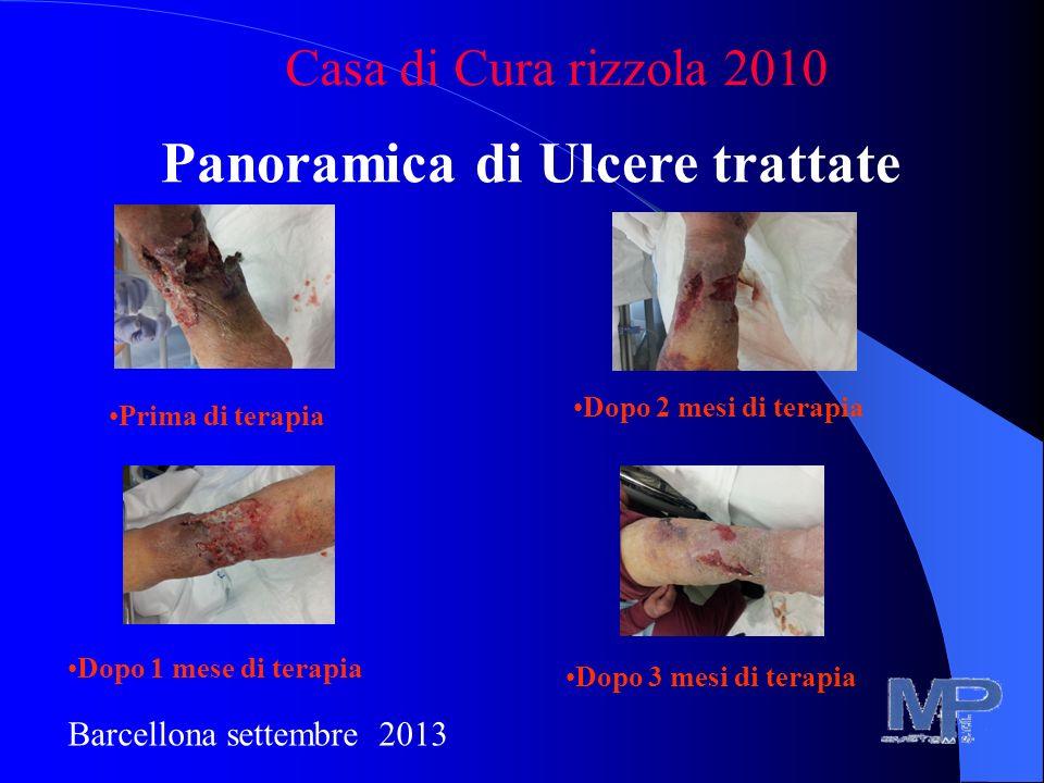 Panoramica di Ulcere trattate Casa di Cura rizzola 2010 Barcellona settembre 2013 Prima di terapia Dopo 1 mese di terapia Dopo 2 mesi di terapia Dopo